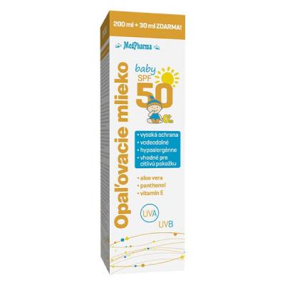 Opaľovacie mlieko SPF50 baby, 200 ml + 30 ml zdarma