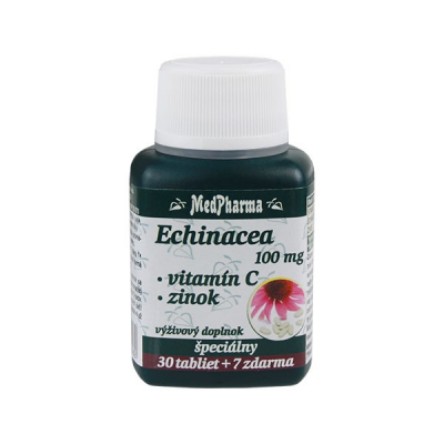 Echinacea 100 mg + Vitamín C + Zinok,  37 tbl