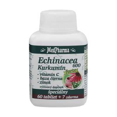 Echinacea 600 FORTE + kurkumín + vit. C + čierna baza + zinok, 67 tbl