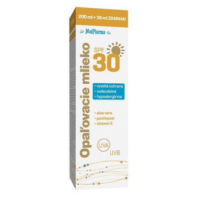 Opaľovacie mlieko SPF30, 200 ml + 30 ml zdarma - výpredaj