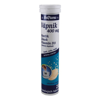 Vápnik 400 mg + Mg + Zn + Vitamín D3, 20 šumivých tabliet - výpredaj